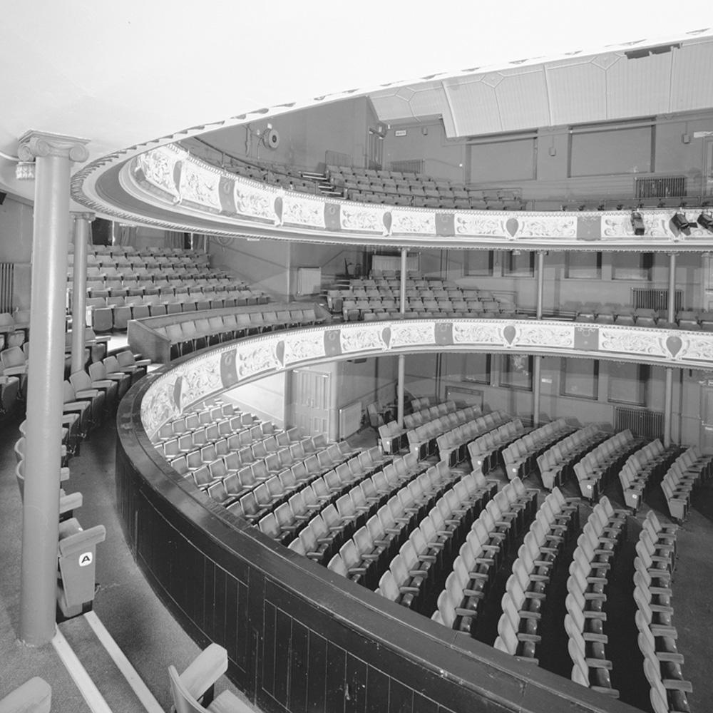 This image shows the seating inside Park and Dare Theatre.